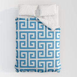 Bright Blue and White Greek Key Pattern Comforters