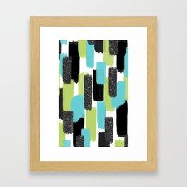 Turquoise and Black Glitter Framed Art Print