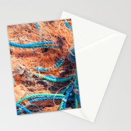 Crumpled fishnet with buoys on rope Stationery Cards
