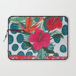 Tropical Bouquet in Living Coral and Emerald Green Laptop Sleeve