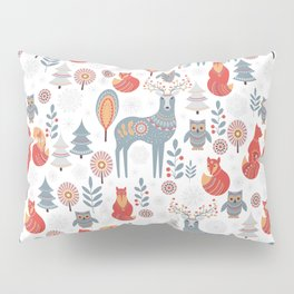 Seamless pattern with winter forest, deer, owl and Fox. The Scandinavian style. Pillow Sham