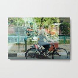 Double Exposure Commuters Metal Print