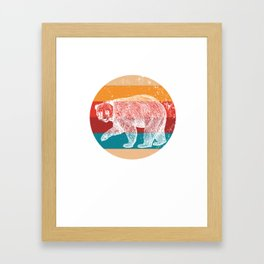 Vintage Grizzly Bears Lover Retro Style Silhouette Gift Framed Art Print