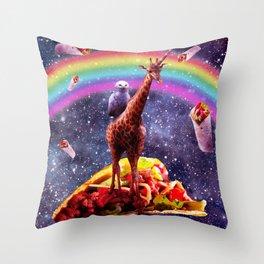 Space Owl Riding Giraffe Unicorn - Taco & Burrito Throw Pillow
