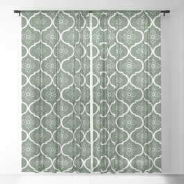 Retro flower in olive green Sheer Curtain