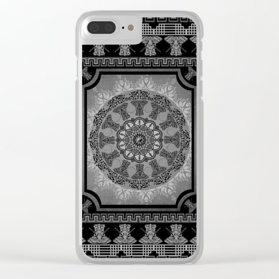 Indian Elephants Yin Yang Mandala Clear iPhone Case