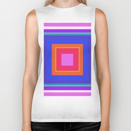 Squares in Purple, Blue, Red, Pink Biker Tank