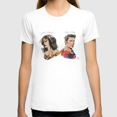 Heroes LARGE White Womens Fitted Tee