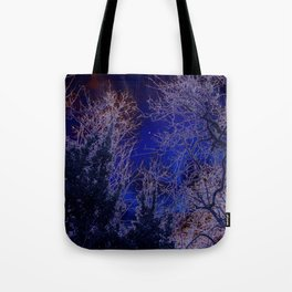 Psychadelic trees frame the moon Tote Bag