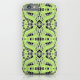 lovely green lumps white black doodle mirrored iPhone Case