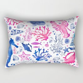 Hand painted blush pink blue watercolor nautical sea pattern Rectangular Pillow