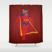 gladiator Shower Curtains featuring Confidence!  Kallark, The Gladiator by Timmy D. Matias