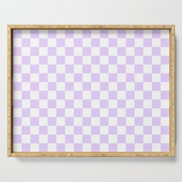 Large Chalky Pale Lilac Pastel Color and White Checkerboard Serving Tray