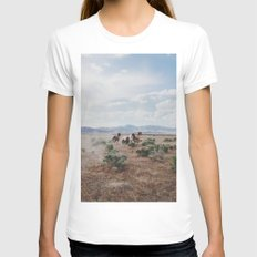 Running Horses SMALL White Womens Fitted Tee