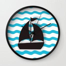 Wall Decor Bathroom Art Print Decoration Blue Sea Boat Poster Ocean Theme Wall Decor Home Decor  Wall Clock