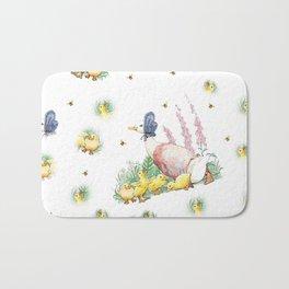 Jemima Puddleduck with chicks vintage Beatrix Potter pattern design Bath Mat