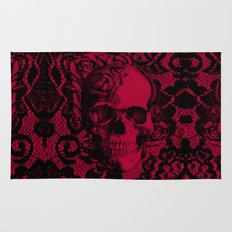 Gothic Lace Skull in red and black. Rug