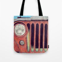 jeep Tote Bags featuring Jeep by Shannon Rutherford