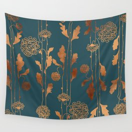Art Deco Copper Flowers Wall Tapestry