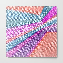 Abstract geometric pattern.Multicolored stripes Metal Print