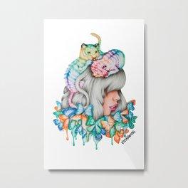 Rainbow Tiger Butterfly Girl Metal Print