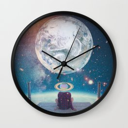 Space boy waiting for mom Wall Clock
