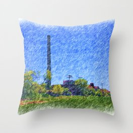 Old time Factory Throw Pillow