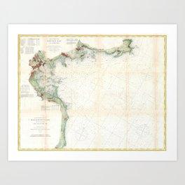 Vintage Map of Boston Bay (1866) Art Print