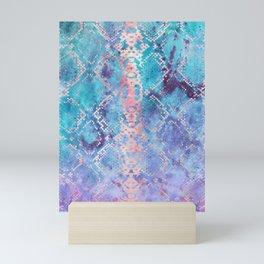 Snakeskin Animal Print - Abstract Design Aqua Blue & Lavender Purple Mini Art Print