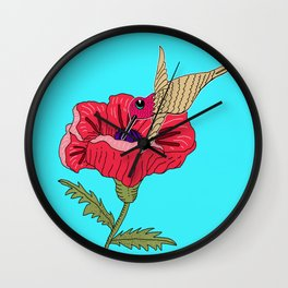 Poppy and Hummingbird Wall Clock