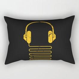 Gold Headphones Rectangular Pillow