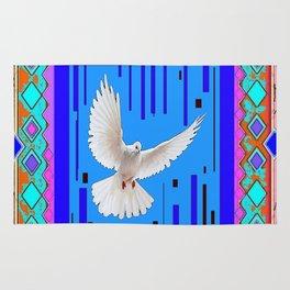 Peace Dove in Blue Ornate Art Pattern Rug