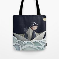 pirate ship Tote Bags featuring The Pirate Ship by Fizzyjinks