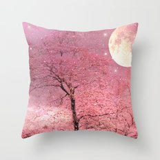 Surreal Fantasy Fairy Tale Pink Nature Trees Stars Full Moon Throw Pillow