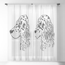 English Setter (Black and White) Sheer Curtain