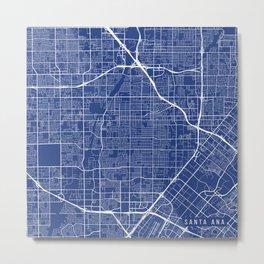 Santa Ana Map, USA - Blue Metal Print