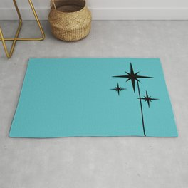 Atomic Age Retro 1950s Starburst in Black and 50s Turquoise Rug