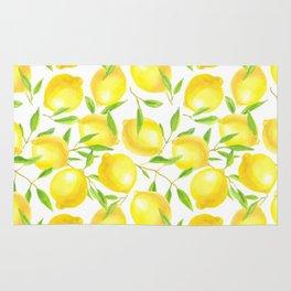 Lemons and leaves  pattern design Rug