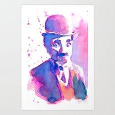 Charlie Chaplin Liquid Watercolor Art Print