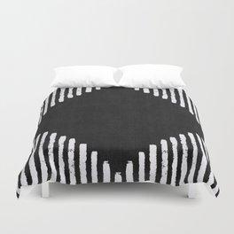 Diamond Stripe Geometric Block Print in Black and White Duvet Cover