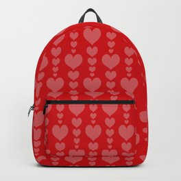 Red Background with Pink Hearts Valentines Day Love Backpack