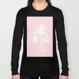 Millennial Pink White Tropical Palm Hawaii Illustration Long Sleeve T-shirt