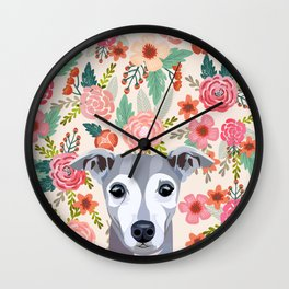 Italian Greyhound floral pet portrait wall art and gifts for dog breed lovers Wall Clock