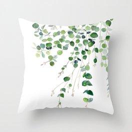 Eucalyptus Watercolor Throw Pillow