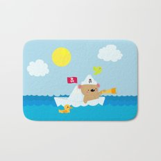 Bear in paper boat Bath Mat