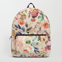 Hand painted ivory pink brown watercolor country floral Backpack
