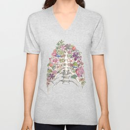 """""""Blooming on the Inside"""" - Flowers in Ribcage Unisex V-Neck"""