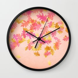 Autumn - world 1 - gold glitter leaves on pink background Wall Clock