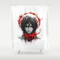 shingeki no kyojin Shower Curtains featuring still strong by ururuty