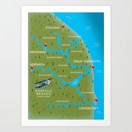 Norfolk Broads England navigation map. Art Print